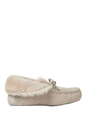 Dearfoams Womens Genuine Suede Convertible Moc Slippers
