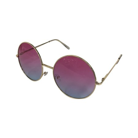 Pink/Blue Fade Janis Joplin Round Sunglasses  Hippie 60s 70s Glasses Costume