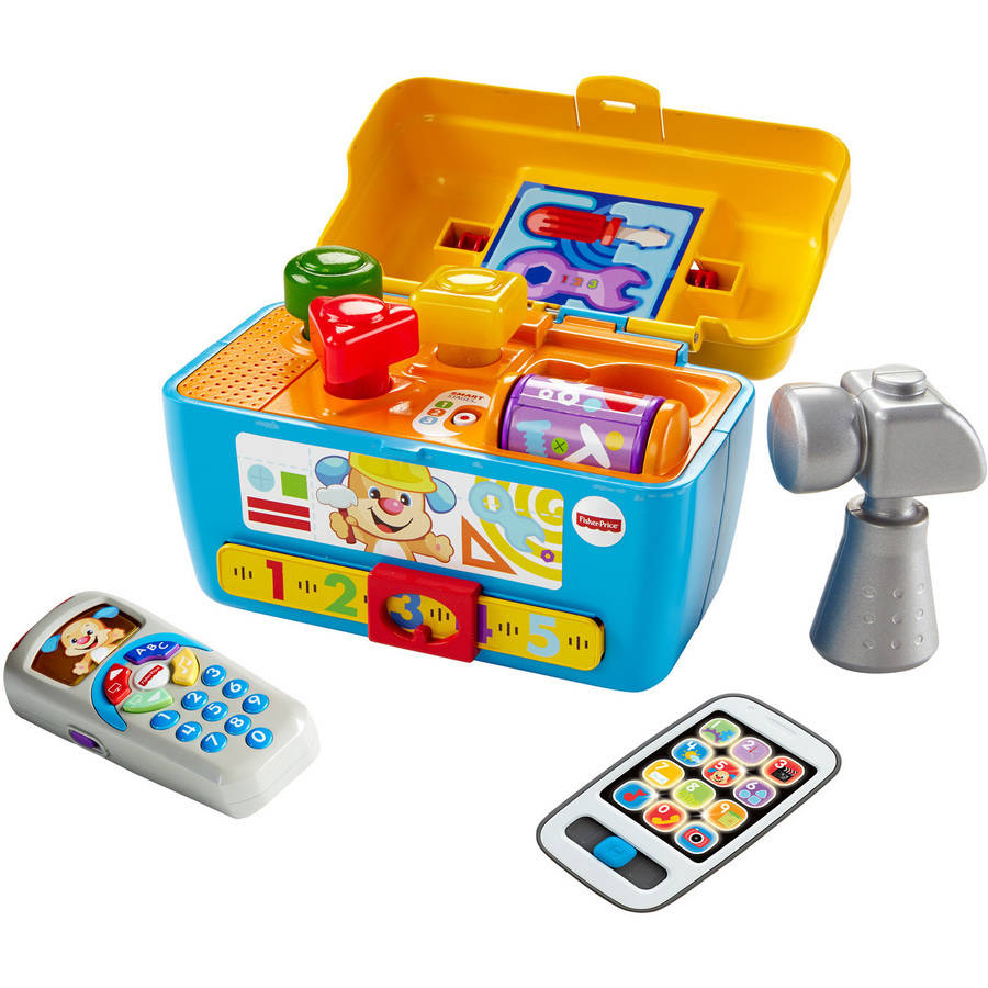 Fisher Price Laugh and Learn Smart Stages Toolbox, Puppy's Remote and gray Smart Phone toy