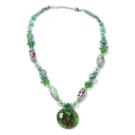 Round Murano Millefiori Glass Enhanced Green Quartzite Pendant with Beads Necklace 28""