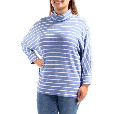 MAISON JULES Womens Light Blue Striped Dolman Sleeve Cowl Neck Sweater  Size: XL Dolman Sleeve Cowl Neck
