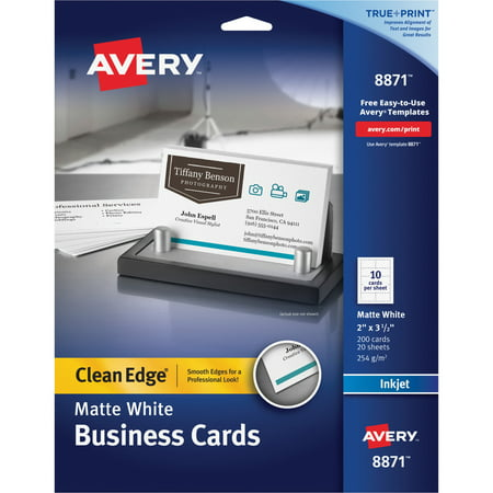 Waterproof Business Cards - Avery True Print Clean Edge Business Cards, Inkjet, 2 x 3 1/2, White, 200/Pack