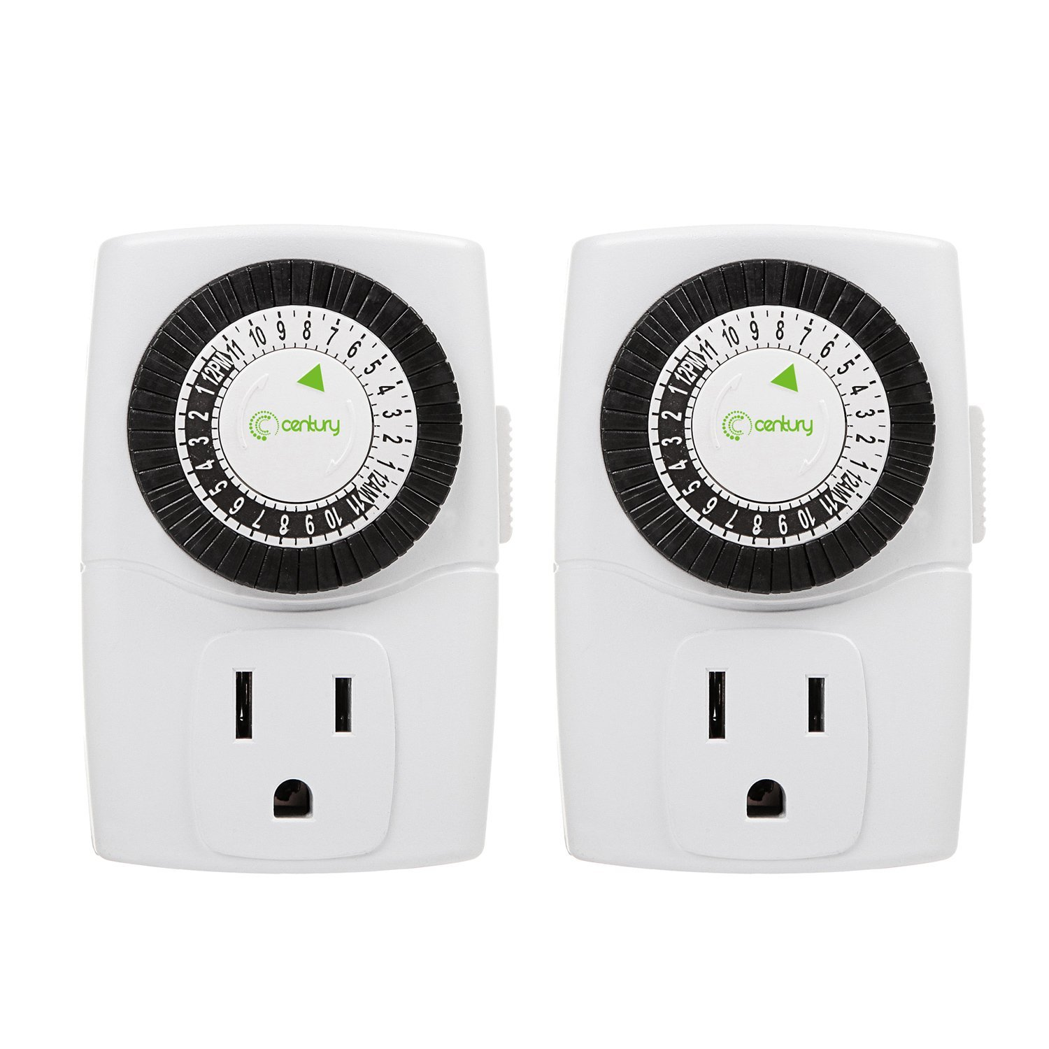 Century Indoor 24-Hour Mechanical Outlet Timer, 3 Prong, 2-Pack by Century Product