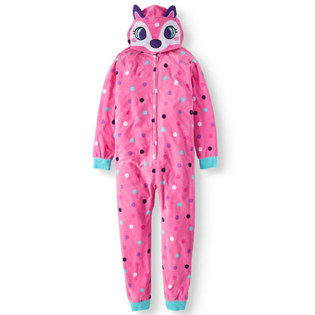 Childrens Pajamas (Komar Kids Girls Pink Fox Hooded One-Piece Pajamas )