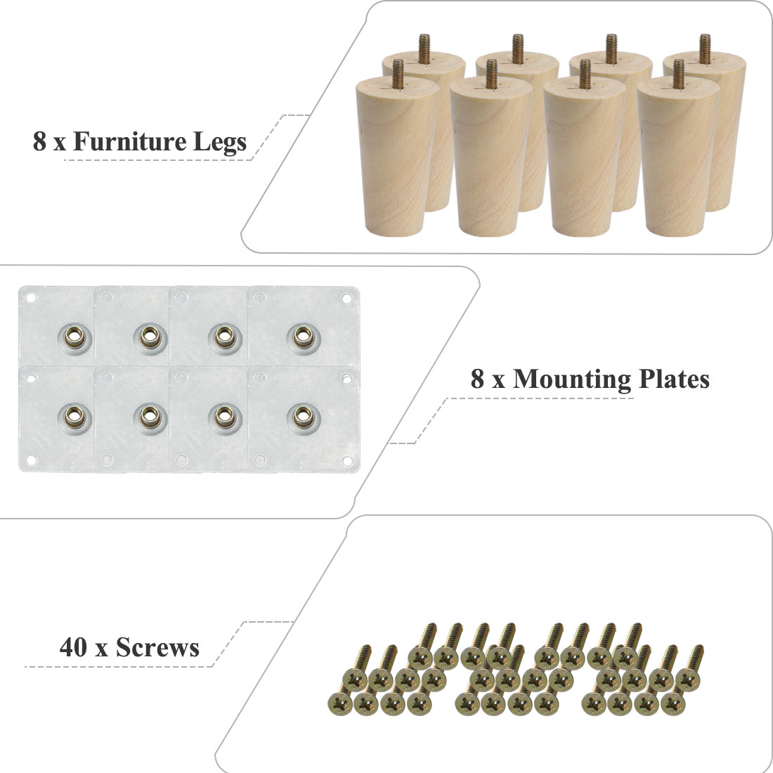 """6"""" Round Solid Wood Furniture Leg Table Chair Feet Adjuster Replacement Set of 8 - image 5 de 7"""