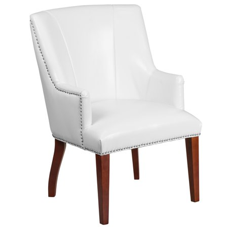 Flash Furniture HERCULES Sculpted Comfort Series White Leather Side Reception Waiting Room Chair