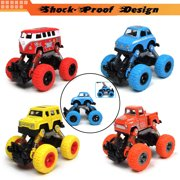 4 Pack Pull Back Truck Toys, Stunt Friction Powered Cars for Kids, Push and Go Vehicles Toddler Toys for Aged 3-12 Year Old Boys & Girl Gift