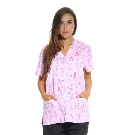 2acebfea8d1 Just Love - Dreamcrest Women's Scrub Tops / Holiday Scrubs / Nursing Scrubs  (Ribbon Print 1, Small, Regular) - Walmart.com