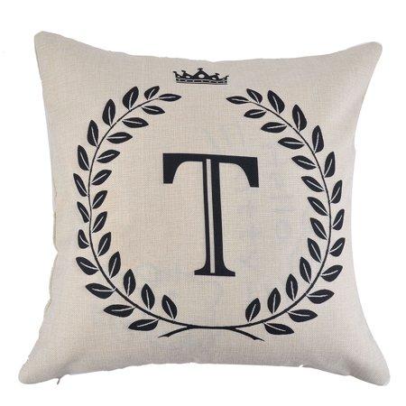 Home Cotton Linen Letter T Pattern Zippered Pillow Cushion Cover 18 x 18 (Cotton Letter)