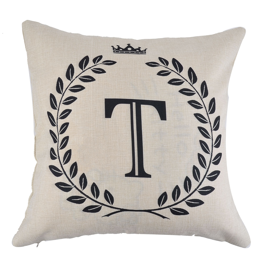 Home Cotton Linen Letter T Pattern Zippered Pillow Cushion Cover 18 x 18 Inches