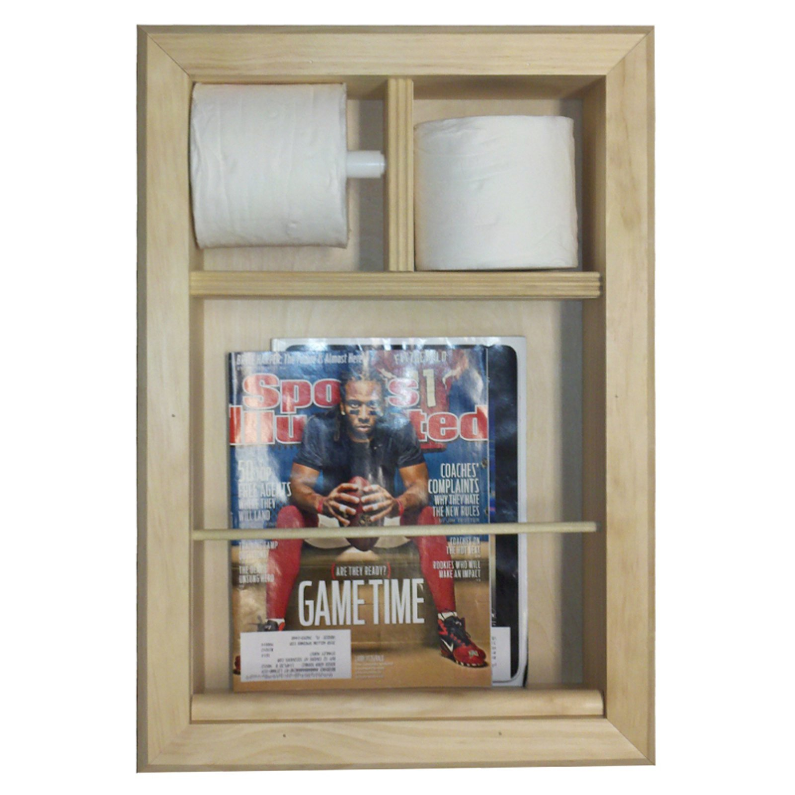 WG Wood Recessed Bevel Frame Magazine Rack with 2 Toilet Paper by WG Wood Products LLC