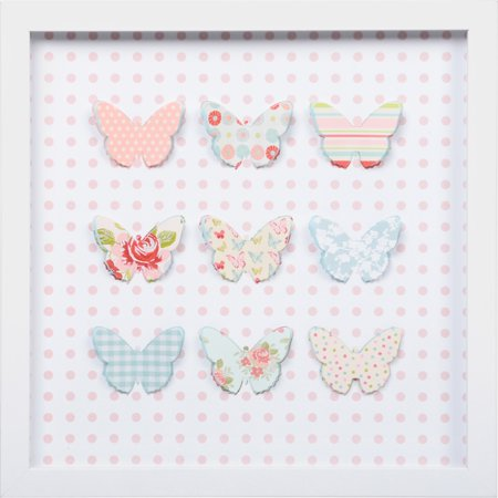 Edge Home Die-Cut Paper Butterfly in Shadowbox Frame Wood Wall Art