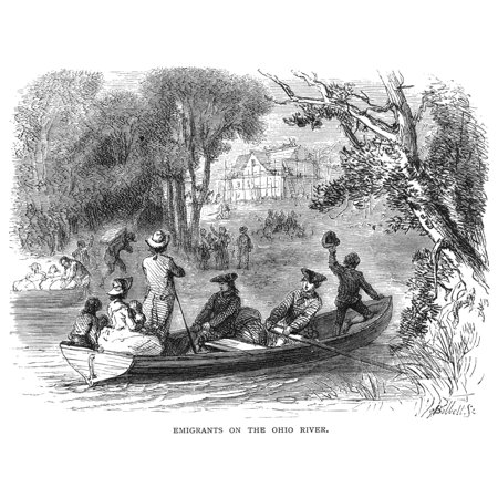 Ohio River Emigrants Nemigrants From East Of The Allegheny Mountains Arrive At A New Settlement On The Banks Of The Ohio River C1789 Wood Engrving 19Th Century After An Illustration By Felix Oc Darley