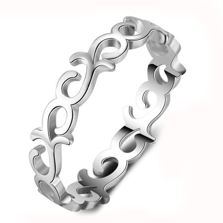 - Ginger Lyne Collection Willow Band Sterling Silver Scroll Filigree Eternity Wedding Bridal Ring