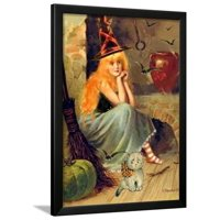 Vintage Witch Halloween Framed Print Wall Art By sylvia pimental