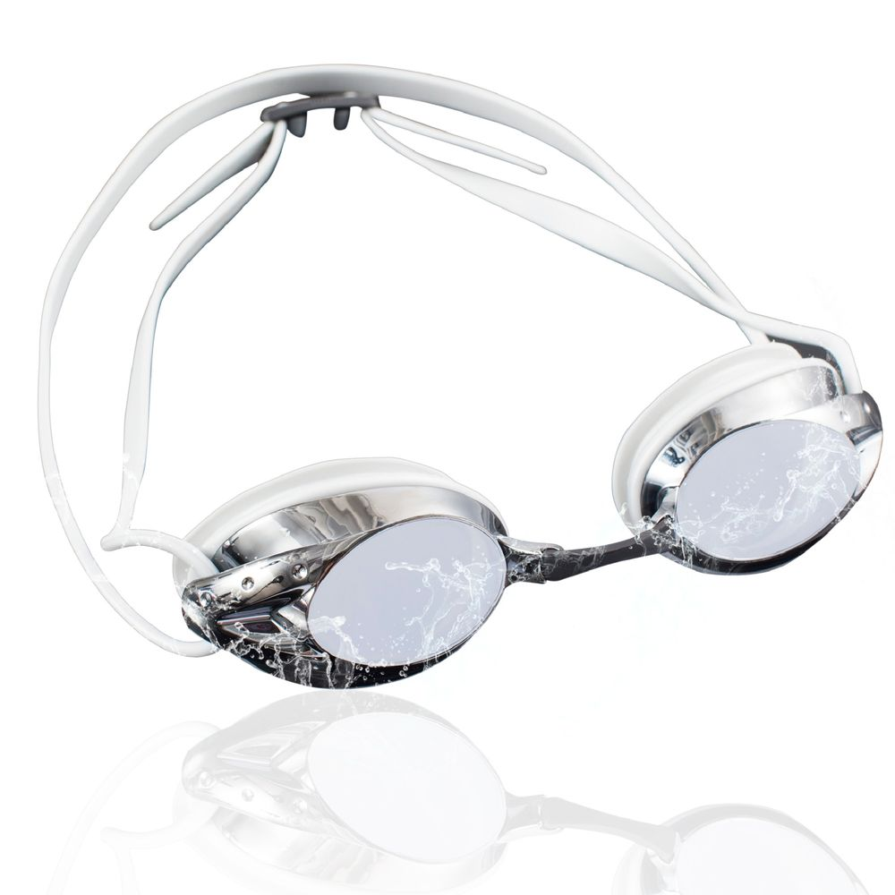 Swimming Goggles for Adults by Zodaca Mirrored Lens Swim Goggles Anti-Fog UV Protection No Leaking Triathlon Swimming Goggles with Free Storage Case for Adult Men Women Youth Unisex Mirror Silver Gray