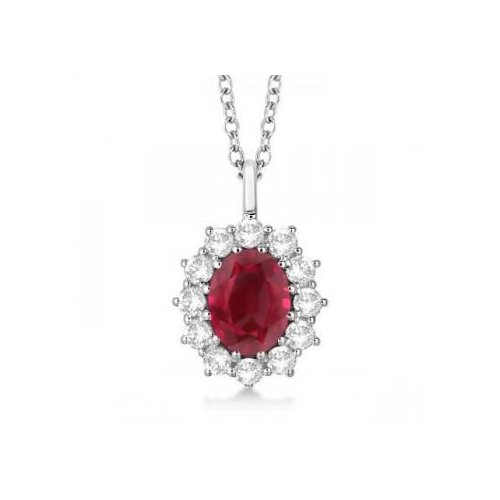 Seven Seas Jewelers Oval Ruby & Diamond Pendant Necklace For Ladies Princess Kate Royal Jewelry 14k White Gold (3.60ctw) by Brand New