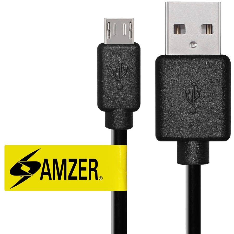 AMZER Universal microUSB to USB Data Sync and Charge Cable, 3'
