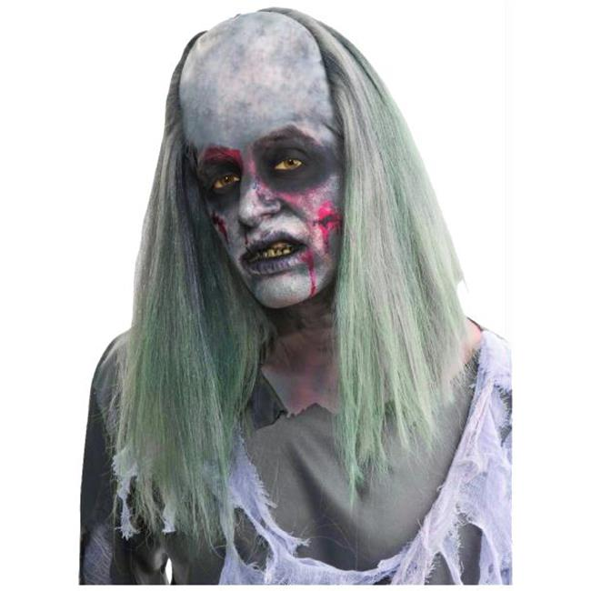 ZOMBIE NURSE MASK WITH HAIR AND HEADPIECE HALLOWEEN HORROR FANCY DRESS ACCESSORY