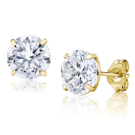 Jewelers 14K Gold 6MM Round-Cut Stud Earrings made with Crystals Swarovski BOXED Crystal 6 Mm Stud