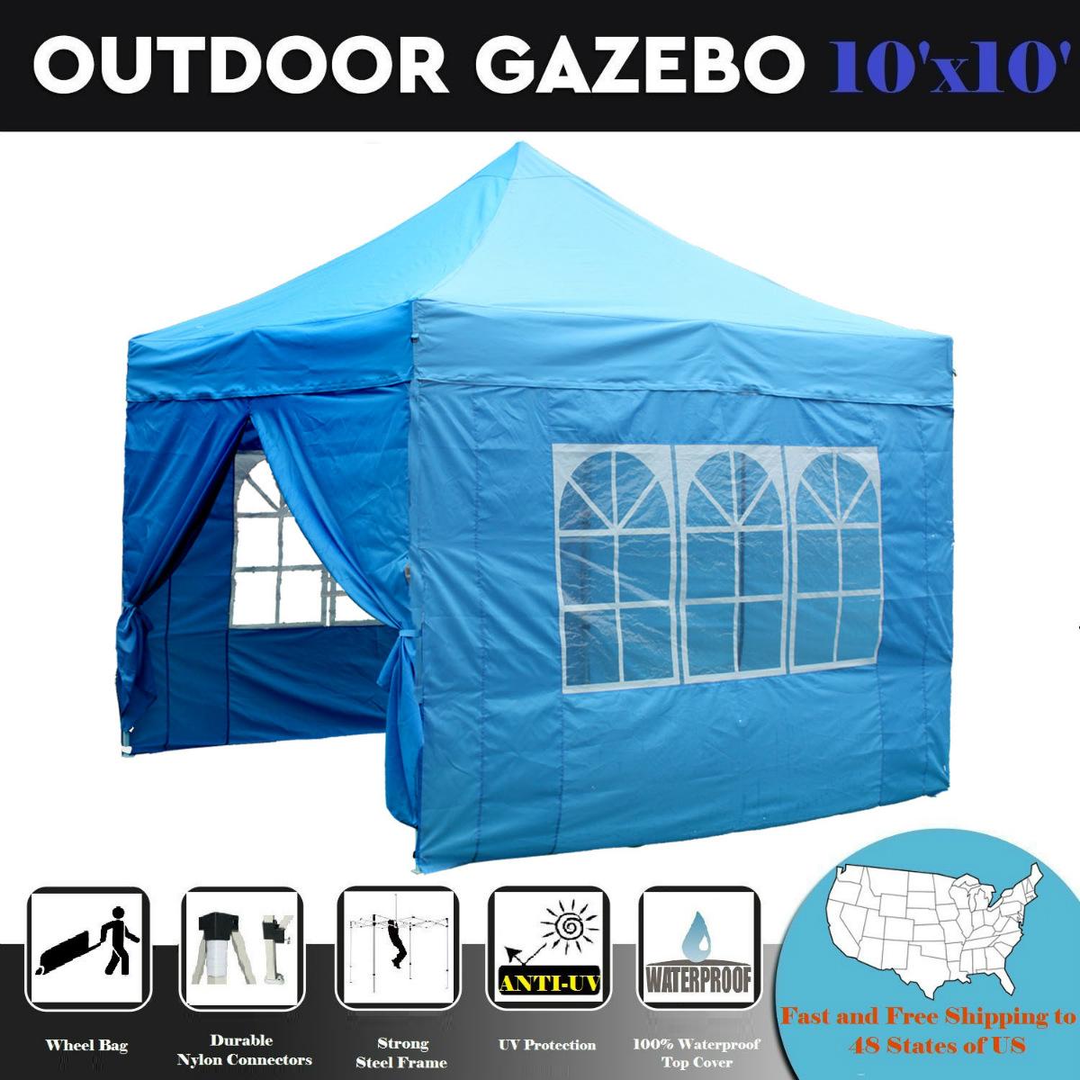 10'x10' Pop up Canopy Wedding Party Tent Gazebo EZ Sky Blue