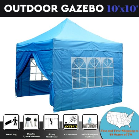 10'x10' Pop up Canopy Wedding Party Tent Gazebo EZ Sky Blue