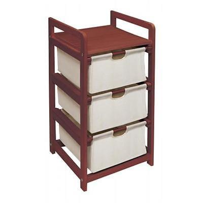 Badger Basket 00125 Cherry Finish Three Drawer Hamper-Storage Unit Home Organizers Istilo106262 by GSS
