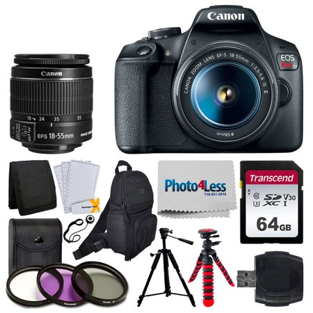 Canon EOS Rebel T7 Digital SLR Camera + EF-S 18-55mm f/3.5-5.6 is II Lens + 64GB Memory Card + Accessory Backpack + 3 Piece Filter Kit + USB Card Reader + Screen Protectors + Double Tripod – Top Kit
