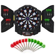 Best Choice Products Electronic Dartboard Sport Game Set w  Cabinet, 12 Darts, LCD Display by