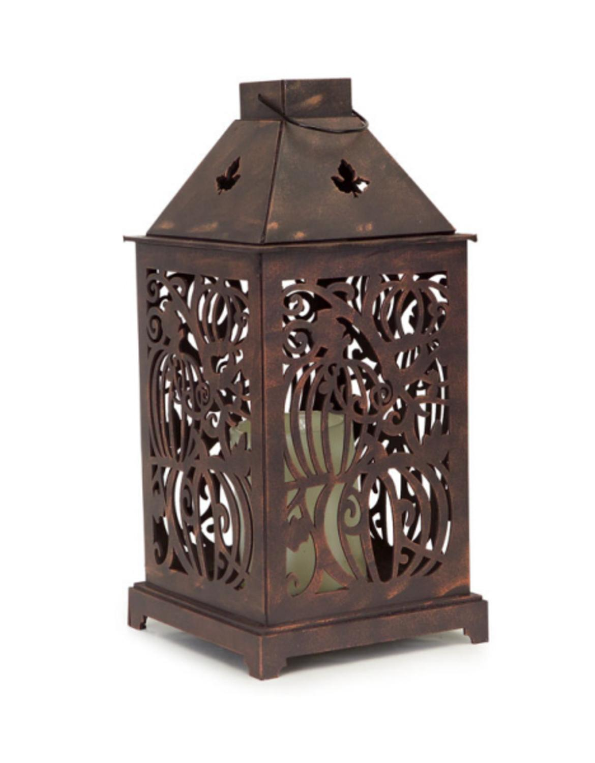 """13.25"""" Battery Operated Rustic Brown Swirling Pumpkin and Maple Leaf Cut Out Halloween Lantern with 4 and... by Melrose"""