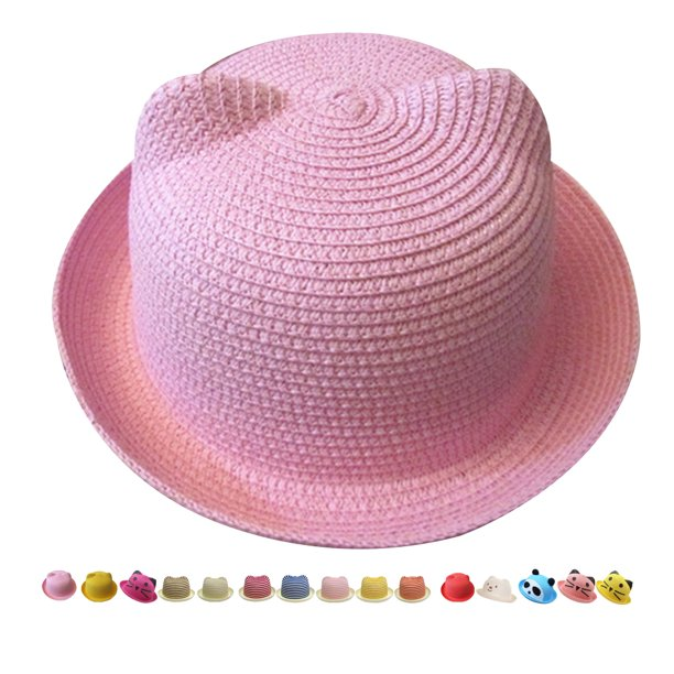 Bonrich Kids Cat Ears Hat Summer Style Kids Sun Caps Straw Hat