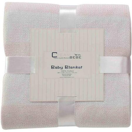 Cream Bebe rayé 100 pour cent en tricot de coton Couverture de bébé, rose / blanc