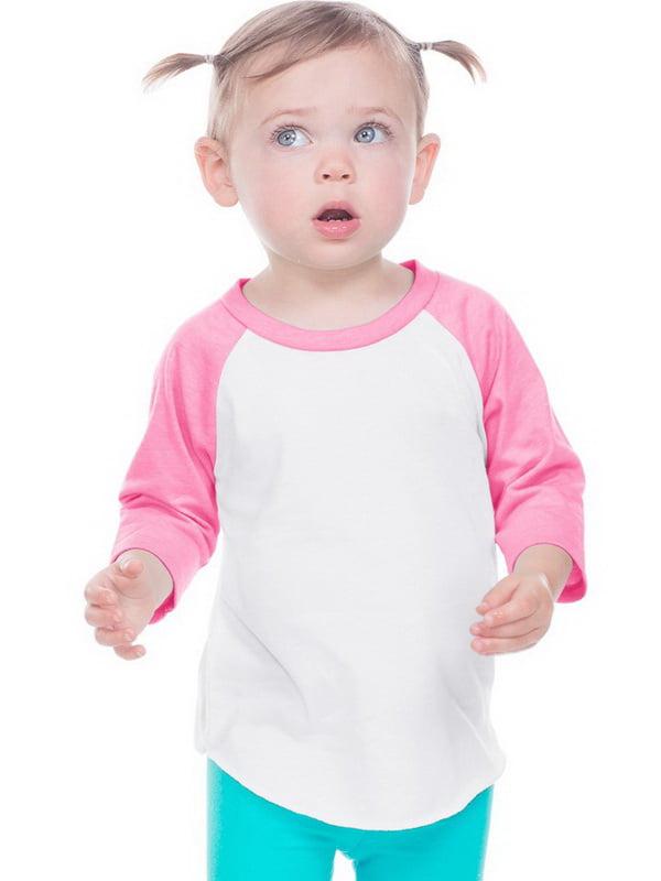 Kavio IJP0660 Infant Jersey Contrast Raglan 3/4 Sleeve-White / Pink Flash-6M