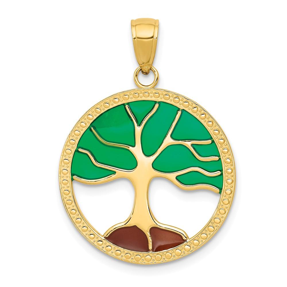 14k Yellow Gold Enameled Tree of Life Pendant