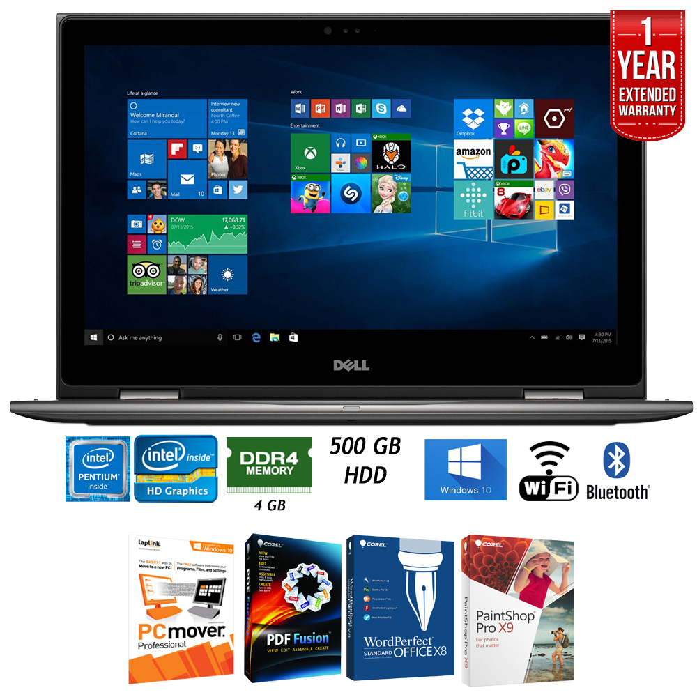 "Dell 13.3"" 4GB RAM 500GB HDD RAM 2-in1 Laptop (i5378-P154GRY) + Elite"