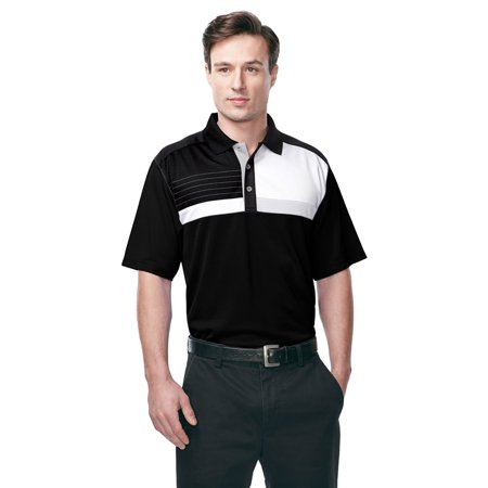 Tri Mountain Mens Color Block Stripe Polo Shirt