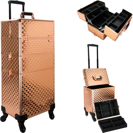 Aluminum Rolling Cosmetic Makeup Train Case Trolley, 4 Removable Wheels Professional Artist Train Case Organizer Box, Removable Trays and Dividers in Rose Gold Diamond by Ver Beauty
