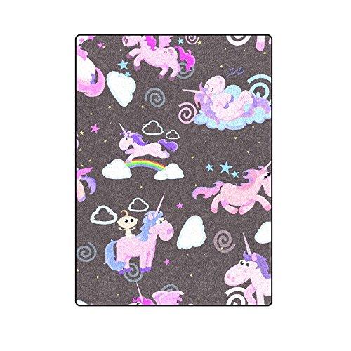 CADecor Magic Unicorn Flying On Rainbow Throw Blanket Bed Sofa Blanket 58x80 inches