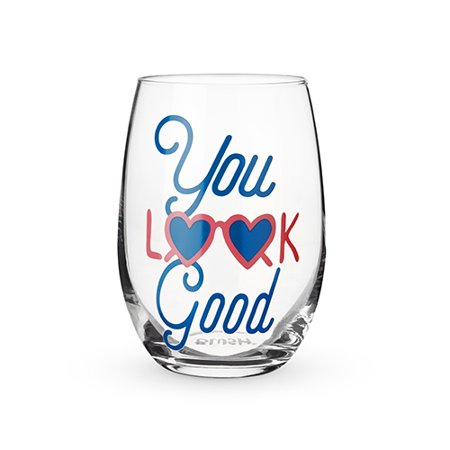 You Look Good Stemless Wine Glass by (Glasses Looks Good On You)
