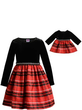 """Dollie & Me Holiday Christmas Plaid Long Sleeve Dress With Matching 18"""" Doll Set (Little Girls & Big Girls)"""