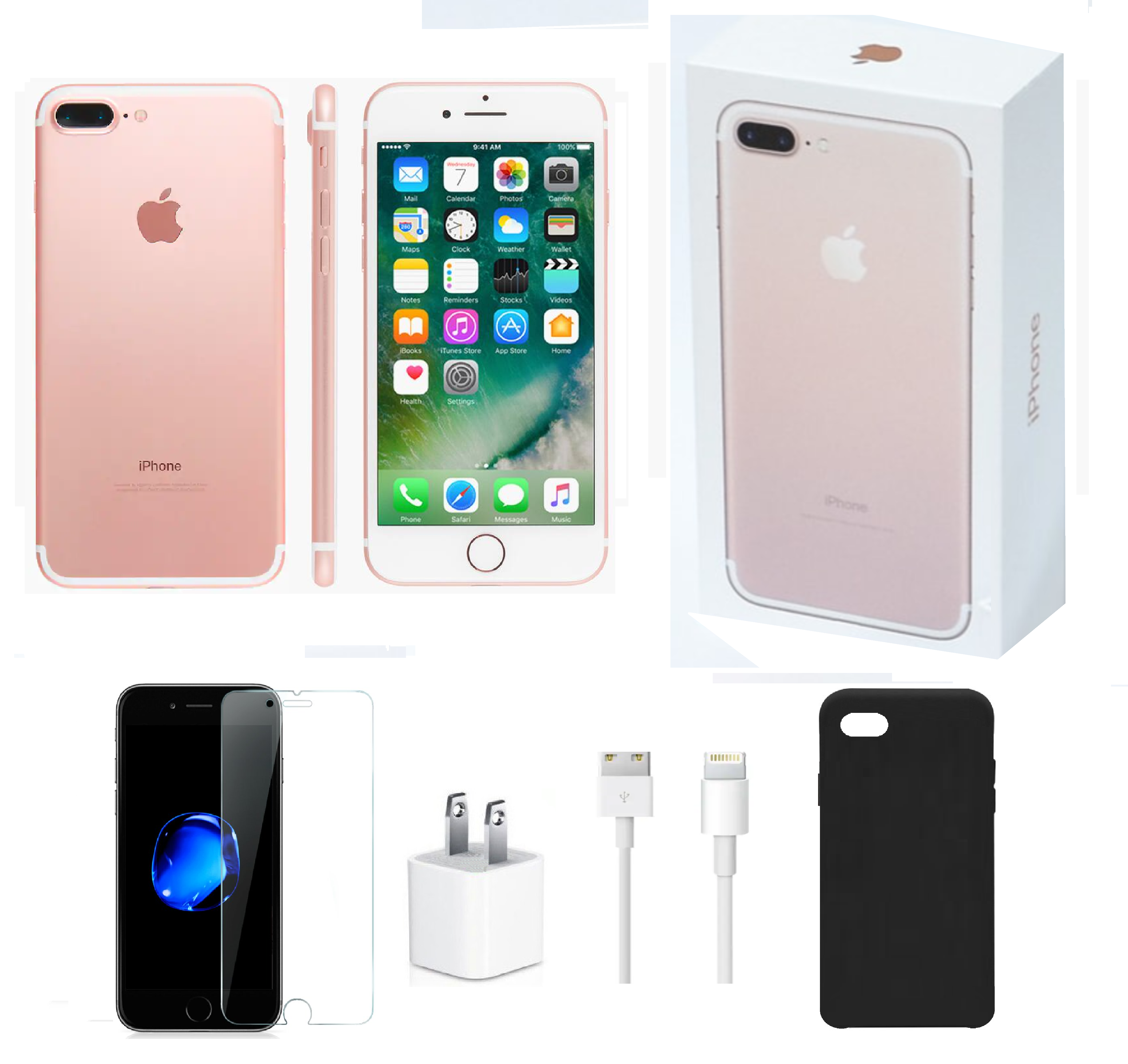 Open Box   Apple iPhone 7 Plus   128GB Rose Gold   Unlocked Bundle:  Tempered Glass & Case and Charger - Walmart.com - Walmart.com