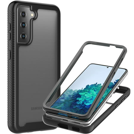 CoverON For Samsung Galaxy S21 5G Phone Case, Military Grade Full Body Rugged Slim Fit Clear Cover, Black