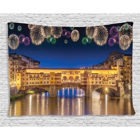 Italian Villa Tapestry - Apartment Decor Tapestry, Night Panoramic View of Vecchio Bridge Florence Italy with Fireworks, Wall Hanging for Bedroom Living Room Dorm Decor, 80W X 60L Inches, Gold Navy Purple, by Ambesonne