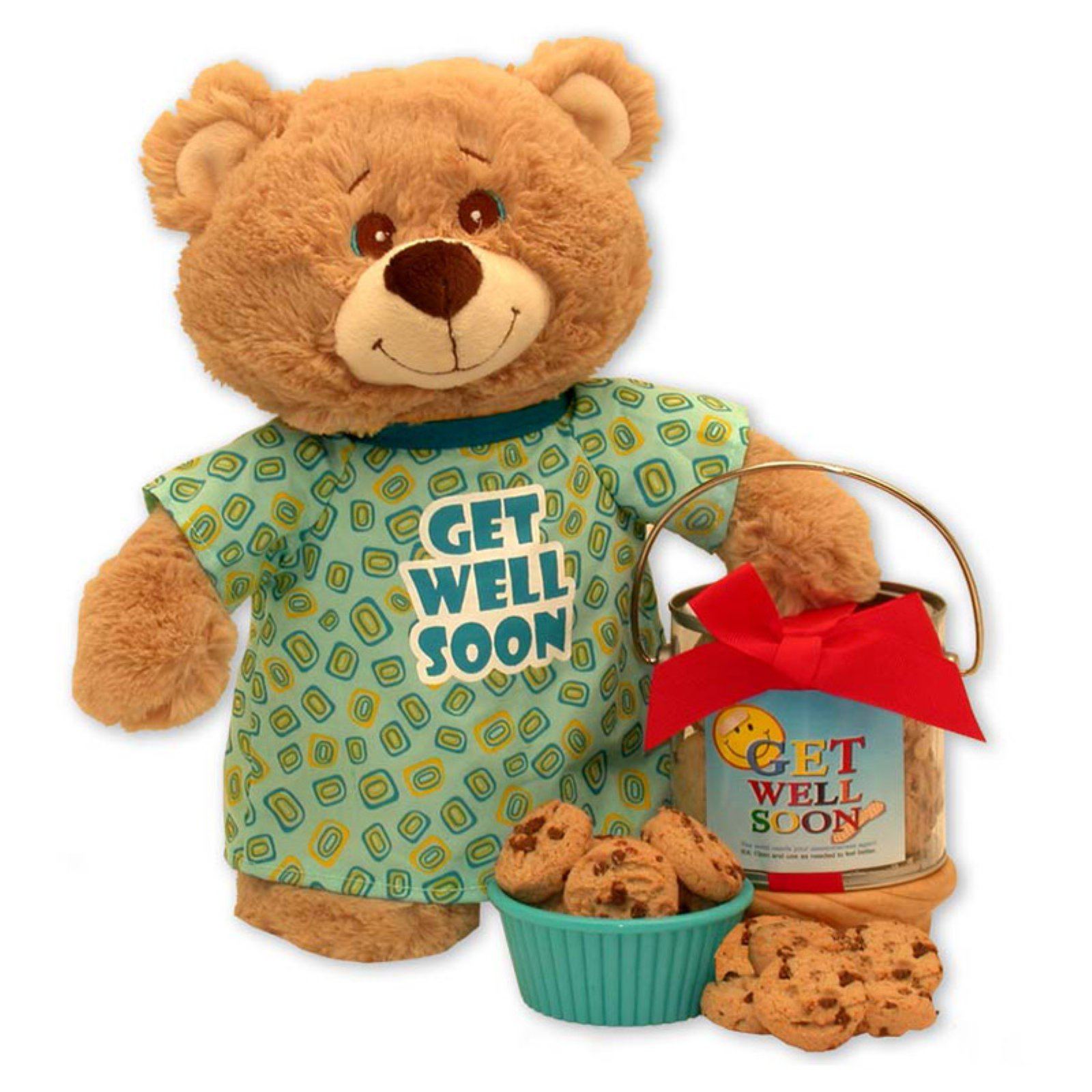 Gift Basket Drop Shipping Get Well Soon Teddy Bear and Cookie Pail