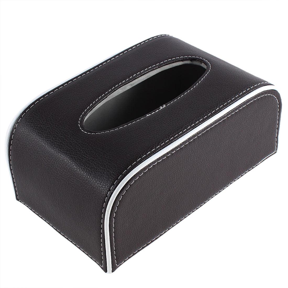 Home Car Faux Leather Rectangular Paper Napkin Tissue Holder Box Brown White