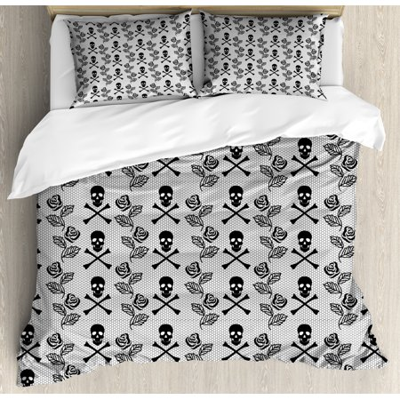 Gothic Duvet Cover Set, Monochrome Lace Style Pattern with Romantic Vintage Roses and Skulls Crossbones, Decorative Bedding Set with Pillow Shams, Black White, by Ambesonne ()
