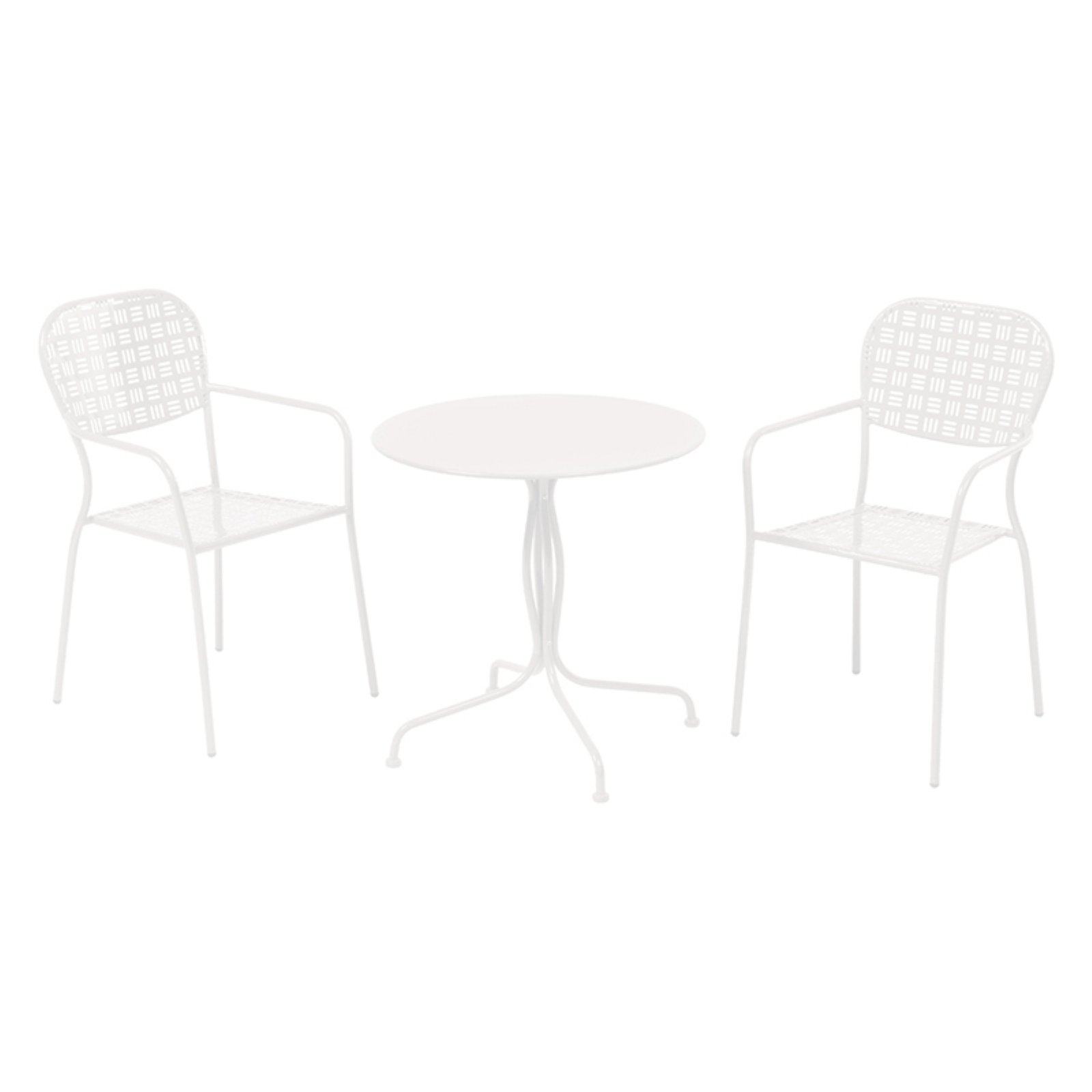 Alfresco Martini Wrought Iron 3 Piece 28 in. Round Patio Bistro Set, Red