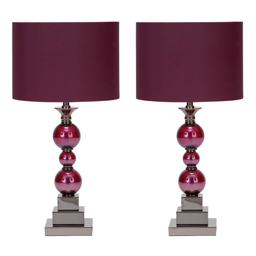 Decmode Metal and Glass Table Lamp, Purple