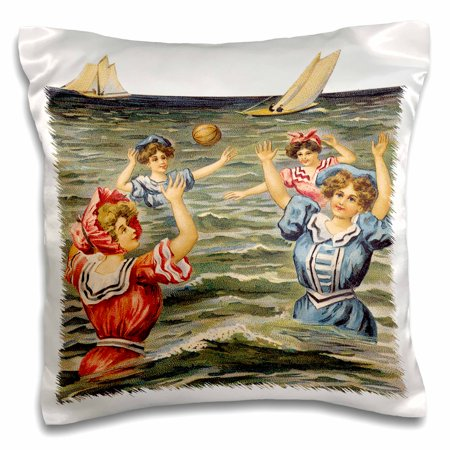 3dRose Women in Victorian Bathing Suits Playing Ball in the Ocean - Pillow Case, 16 by 16-inch