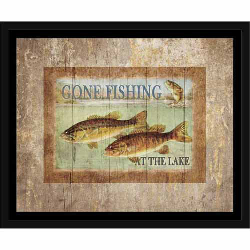 Lake Fishing Three Fish Jump Water Wood Grain Distressed Lodge Painting Tan & Blue, Framed Canvas Art by Pied Piper Creative
